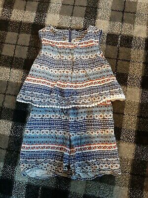 Girls playsuit Age 6- 7 Flower Pattern, Blue, Red, White