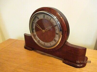 "Art Deco Oak Cased, "" Bentima "" 8 Day mantel Clock. circa 1950s."
