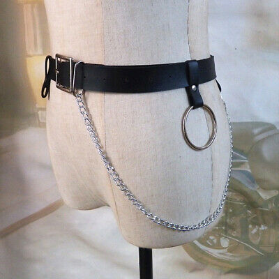 Pin Buckle Women Belt Artificial Leather Circle Ring Fashion Party Waist Chain