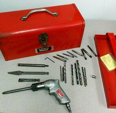 Crack repair kit with taps chisels, Versnick plugs pneumatic air peening gun