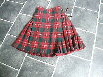 "Ladies Vintage Pure New Wool Red Tartan Kilt 28"" Waist 22.5"" Length"