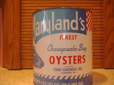 TODD SEAFOODS INC 1 GALLON OYSTER CAN  CAMBRIDGE,MD # 128 & 2- 1 lb Cans w/1 Lid
