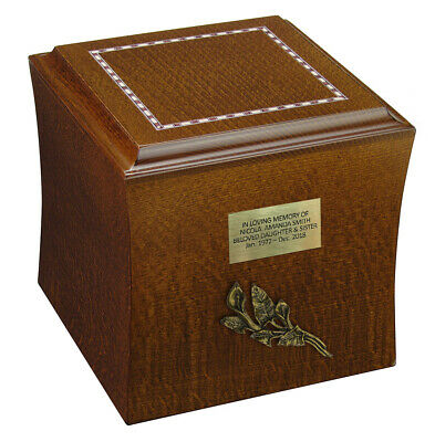 Wooden Funeral Cremation Urn for Ashes Unique  Memorial Casket, Personalised Urn