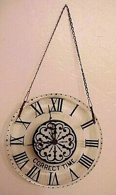 """Rare! Antique Ansonia """"Correct Time"""" Store Window Display Hanging Glass Clock"""