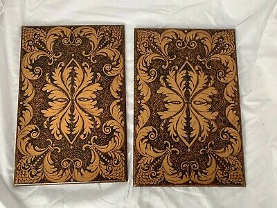 ANTIQUE Vintage PAIR OF POKER WORK WOODEN PANELS book covers hand made folk art
