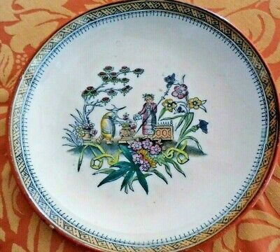 chinoiserie dish plate c1880 antique rare CHANG pttern by Edge Malkin