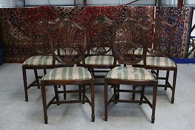 Set 8 Antique Reproduction Shield Back Dining Chairs Mahogany Vintage Wheatsheaf