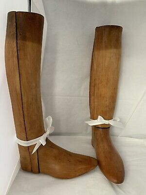 """Vintage post war pair of WOODEN RIDING BOOT LASTS 19"""" long moulds shop display"""