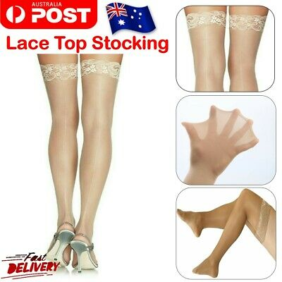Sheer Lace Top Women Hold up Pull up Stay up Non slip Thigh High Stockings Beige