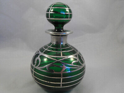 Green Scent bottle with art nouveau solid silver overlay
