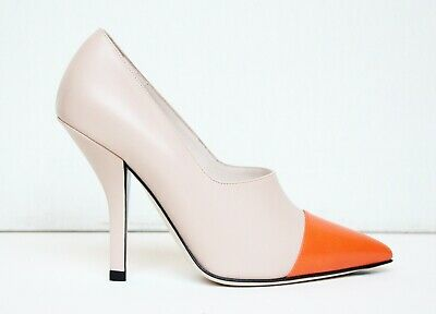 FENDI two tone pumps nude leather orange toe décolleté scarpe carne pelle 37 38