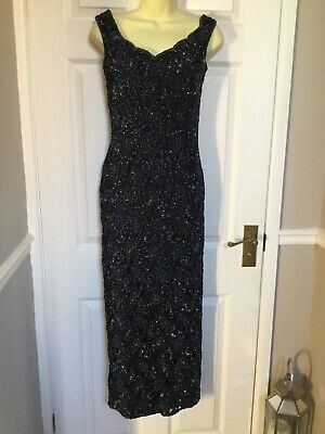 Blue Beaded Evening Dress. Size S(?) Christmas Party