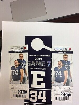 Penn State vs Rutgers 2 Tickets w/ Parking Pass/ 35 Yd line + great parking!