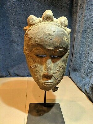 Punu Ceremonial Mask with Display Stand — Hand Carved Wood Authentic African Art