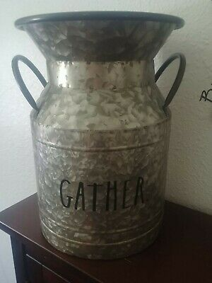"New Rae Dunn ""Gather"" Galvanized Medium-Sized Milk Pail - Rae Dunn Thanksgiving"