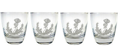 Scottish Thistle Clear Lowball Rocks Glass Set of 4 Free Personalized Engraving