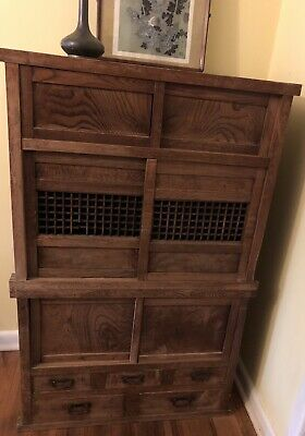Antigue Japanese Two Sectioned Dresser