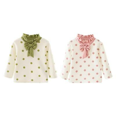 Baby Girl Kids Round Neck Ruffle Fleece Clothes Cute Dot Print Bowknot Tops C#P5