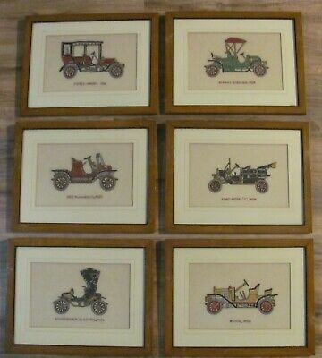 Lot of 6:  Framed & Matted Cross Stitch Antique Cars/Vehicles