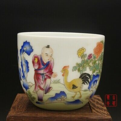 Chinese Exquisite Famille-rose Porcelain Child Boy Zodiac Rooster Gongfu Teacup