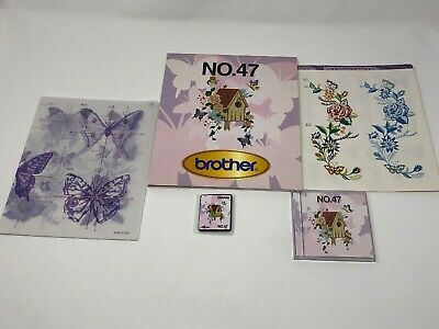 Brother No 47 Machine Embroidery Designs Card Butterflies Flowers Birdhouse etc.