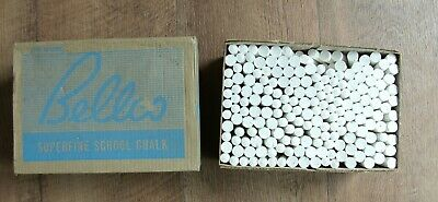 Superfine school white chalk Bellco Australian made E15096 boxed NOS vintage
