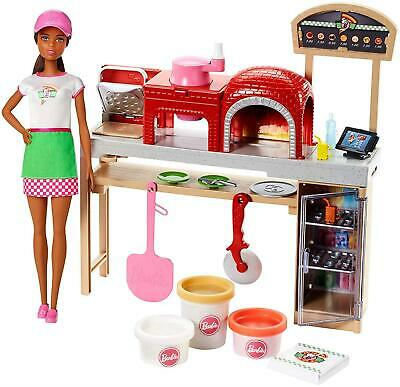 Barbie Pizza Chef Doll and Playset Brunette Mattel 7EQAzy1