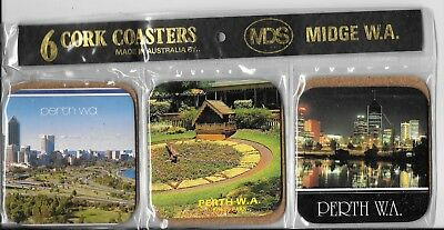 Vintage souvenir drink coasters Perth WA Australia cork backed x6 factory sealed