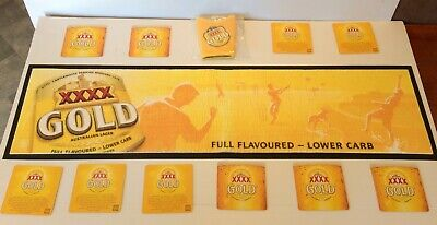 XXXX Gold Cricket Bar Runner & Glass Cooler Holder & 10 x Double Sided Coasters