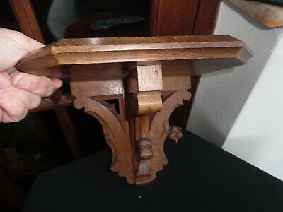 Antique Carved Oak Victorian Gothic Church Wall Bracket