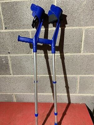 Pair Of Invacare Adjustable Strong Blue Crutches Modern Look