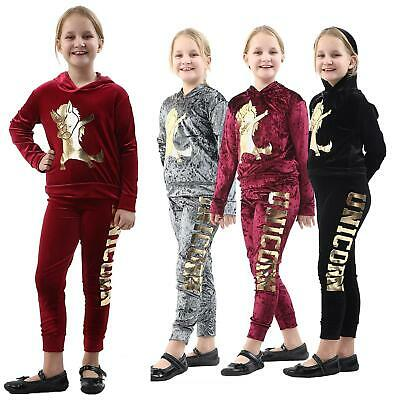 New Kids Girls Hooded Unicorn Dab Tracksuit Top & Bottom Set Velvet Lounge Wear