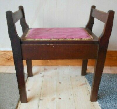 Vintage Wooden Piano Stool with Storage for Sheet Music