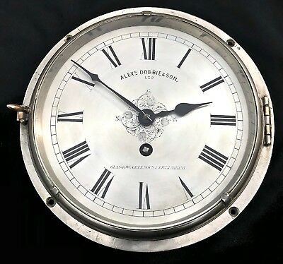 VERY RARE Antique Chrome Cased Fusee Wall Clock Ships Clock Alex Dobbie Glasgow