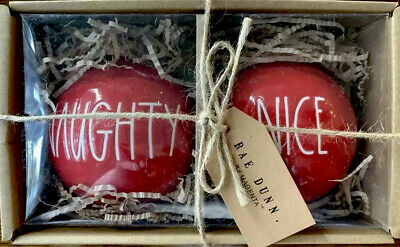 Rae Dunn NAUGHTY NICE Christmas Ornaments Red LL In Gift Box Reset To Gift! NEW