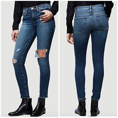 NWT Womens Frame Denim Size 30 Le High Skinny Ripped Ankle Jeans Gautrey $239