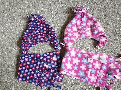 jojo maman bebe hats and scarfs bundle for twin girls size (12-24 month1-2 years