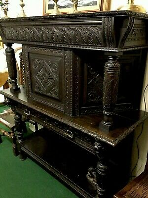 "Antique Carved Victorian Oak ""buffet"" Court Cupboard"