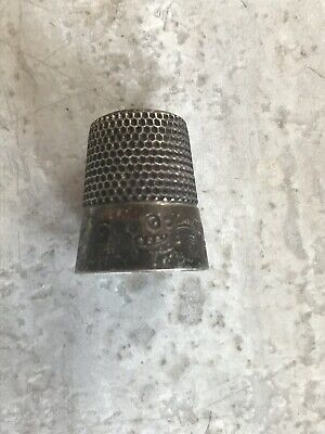 """Antique Sterling Silver Thimble Monogram """"H"""" Makers Mark German?"""