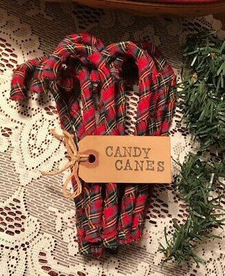 12 Primitive RED TARTAN PLAID Fabric Candy Canes Christmas Ornaments A12