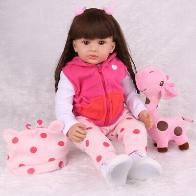 """Reborn Baby Dolls 24"""" Real Looking Silicone Vinyl Realistic Soft Girl Toddler"""