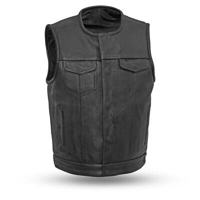 Men's No Collar Highside Leather Motorcycle Vest ( Size Small )