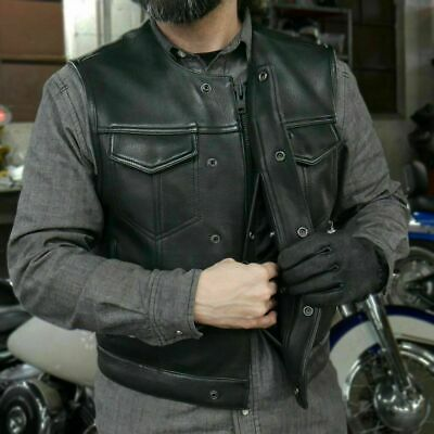 Men's No Collar Lowside Leather Motorcycle Vest ( Size Small )