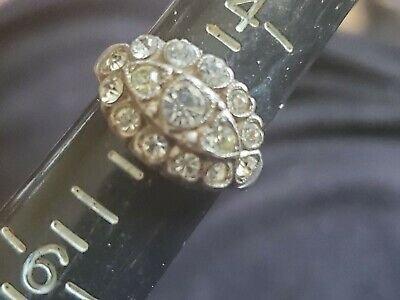 ART DECO Antique Sterling Silver  Paste Stone Band Ring Size  4.5