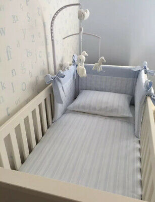 Cot Bedding Set, Changing Mat, Covers, Luxury Baby Bedding Set, Nursery Blue,