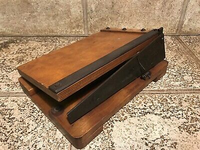 Vintage Wooden Guillotine Paper Card Photo Cutter Small Size 28x19cm