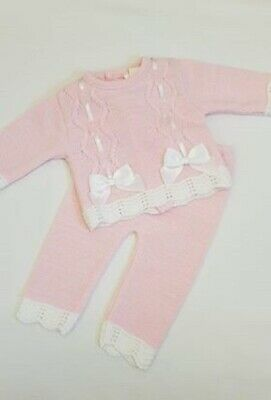 Baby Girl Spanish Knitted 2 Piece -  Pink with white Bows NEWBORN TO 9-12 MONTH