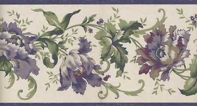 JACOBEAN FLORAL SATIN ON BROWN BACKGROUND WALLPAPER BORDER  FDB01087