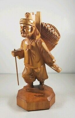 Wooden Figurine Asian Man Worker Hand Carved Carrying A Basket On His Back