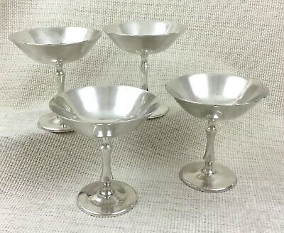 WMF Silver Plate Seafood Cocktail Bowls Sundae Coupe Dishes Art Deco Set of 4